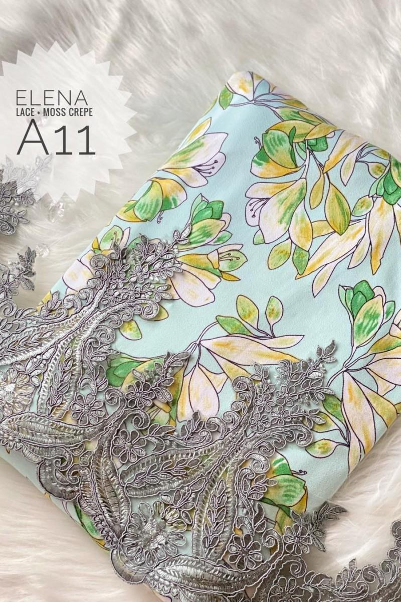 Elena A11 (Moss Crepe+Lace)