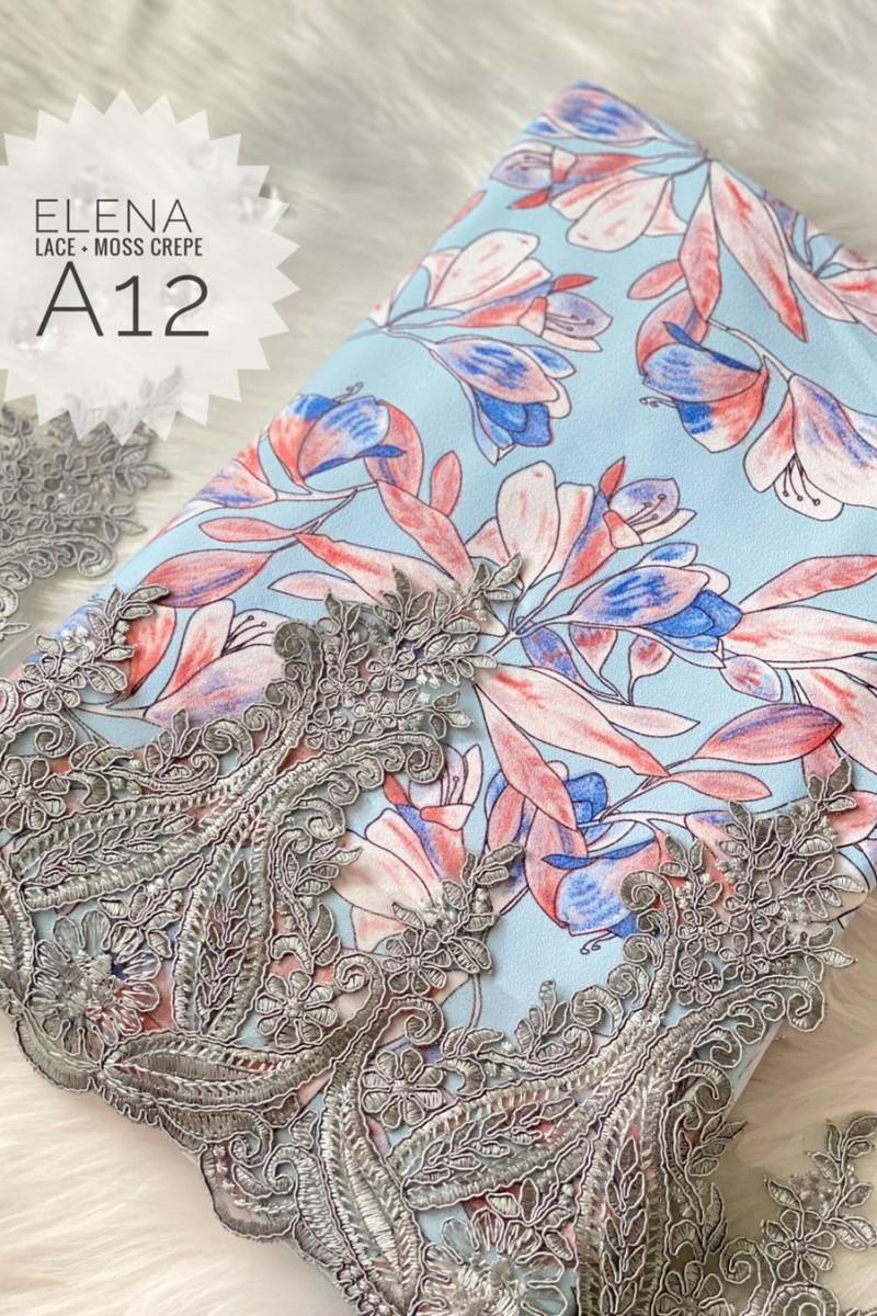 Elena A12 (Moss Crepe+Lace)