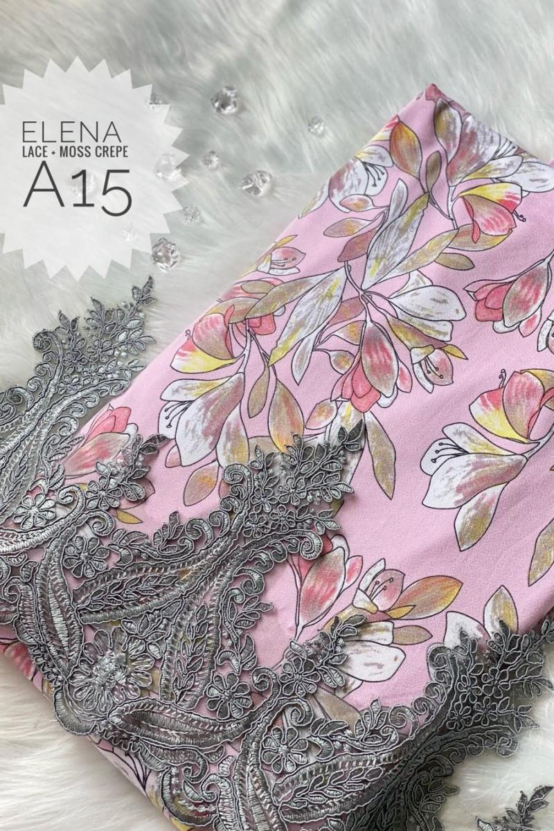 Elena A15 (Moss Crepe+Lace)