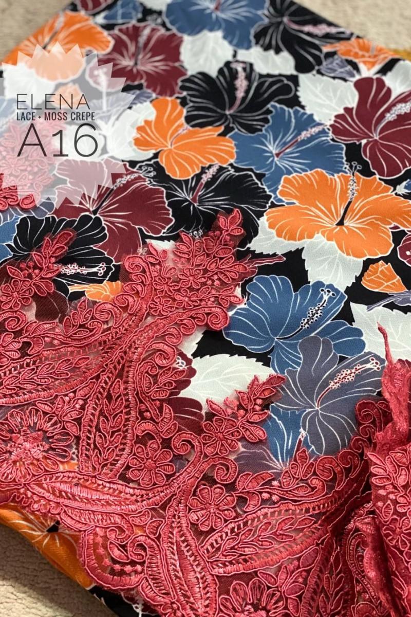 Elena A16 (Moss Crepe+Lace)