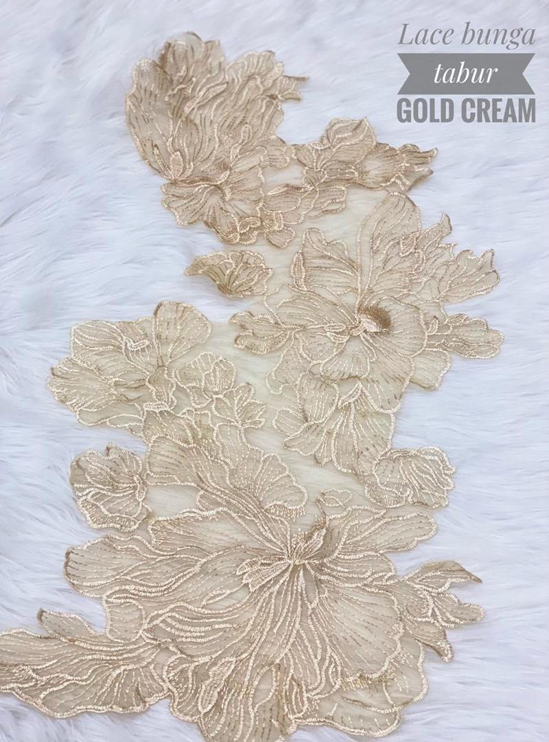 Lace Bunga Tabur – Gold Cream