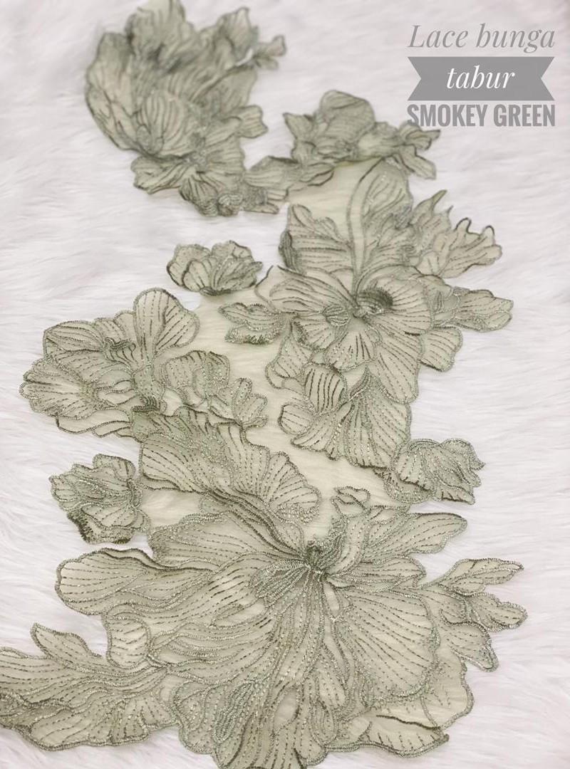 Lace Bunga Tabur – Smokey Green